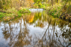 Autumn Reflections (tquist24) Tags: bonneyvillemillcountypark hdr indiana littleelkhartriver nikon nikond5300 outdoor autumn color fall geotagged leaf longexposure park reflection reflections river tree water bristol unitedstates waterfall