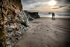 Sunset: La Jolla, Scripps Pier and Cliff (Photos By Clark) Tags: california lajolla places location cities locale subjects beachshots where canon2470 unitedstates northamerica sandiego canon5div us pacific cliffs nik lightroom thesandiegoist waves sunset pier people rocks sand clouds colorefx