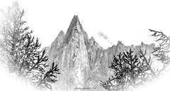 Croquis de Cimes (Frédéric Fossard) Tags: art surréaliste abstrait dessin esquisse drawing texture surreal abstract montagne mountain mountainpeak alpes hautesavoie fondblanc paysage landscape massifdumontblanc lesdrus cimes crêtes arêtes arbre branches mountainridge croquis