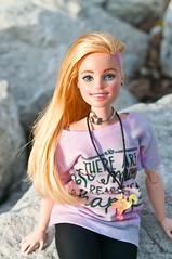 Aida (new custom) (vanyrei) Tags: barbie upindots fashionistas flocked repaint reroot flocking pinkhair curvy madetomove mtm hybrid custom doll blonde