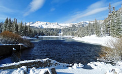 Spring Snow at Twin Lakes, CA 2017 (inkknife_2000 (10 million + views)) Tags: mammothlakesca springsnowstorm treeswithsnow sierranevadarange freshsnowonground waterreflection usa landscape snow dgraham photo california newsnow morningsnow twinlakes crystalcrag forest iceonlake trees pines firs waterreflections settingmoon moonfall featheryclouds skyandclouds lakes angel angelwings