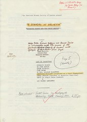 A Scandal in Helvetia - Tony Howlett's copy of the script, now in the Society's Archives