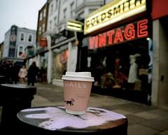 Gail's (Sam Tait) Tags: coffee espresso cup waste junk rubbish left behind lazy scumbag oh crumbs gails vintage portobello road small post bollard london goldsmith