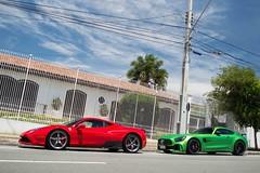V8 Duel (Andre.Siloto) Tags: ferrari 458 speciale v8 v 8 nart rosso scuderia corsa red vermelho vermelha europa europe euro mercedesamg gt r mercedes amg mercedesbenz benz green hell magno verde inferno matte fosco ceramic carbon brasil brazil bra br curitiba ctba cwb paraná pr nikon d3200 d 3200 exotic car exotics cars