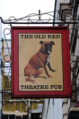 Pub sign for the Old Red Lion Theatre Pub, Islington. (Peter Anthony Gorman) Tags: oldredlion islingtonpubs pubsigns boxer