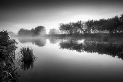 awakening... (Vladimir Barvinek) Tags: dawn mist river water canal reflection calm dream awakening rays sunrise morning monochrome blackandwhite