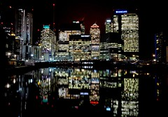 Blackwall Basin (Douguerreotype) Tags: canarywharf london dark uk water docklands buildings british lights architecture city reflection britain night gb urban england