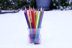 DIY Spring - too realistic (mistake 2 of 2) (Kerri Lee Smith) Tags: coloredpencils pencils color springcolors snow backyard winter toorealistic sooc diy vase