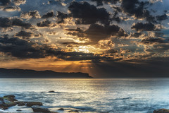Seascape with Sun Rays through the Clouds (Merrillie) Tags: daybreak landscape cumulus nature dawn waves waterscape water sunrise newsouthwales clouds earlymorning nsw sky australia ocean pearlbeach sea rocky coastal rocks outdoors seascape morning centralcoast coast seaside
