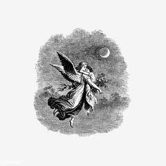 Vintage angel with a child illustration (Free Public Domain Illustrations by rawpixel) Tags: angel antique art arts artwork believe black blackandwhite cc0 character creativecommons0 decor decorative drawing element engraved engraving feather fineart fly flying god graphic graphite historic historical history illustration ink isolatedonwhite moon name painting pencil publicdomain retro saint sketch sketching sky victorian vintage whitebackground wings