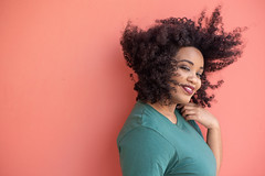 Cleo (Rushay) Tags: african woman blowing copyspace smile curly portrait hair portelizabeth southafrica