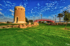 Lush Green (mohd_zub@yahoo.co.in) Tags: grass sky castle park bridge clouds trees landscape doha qatar