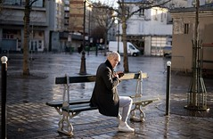 White hair under sun ray, place d'Aligre. (cyrilholtz) Tags: candid france paris color street