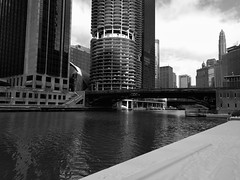 Walk (ancientlives) Tags: chicago chicagoriver chicagoparks illinois usa travel trips river walking downtown loop architecture towers skyline skyscrapers buildings city cityscape snow weather winter 2019 january saturday blackandwhite bw mono monochrome