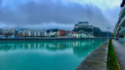 Kufstein panorama with river Inn and fortress, Tyrol, Austria