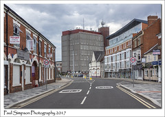 Grimsby (Paul Simpson Photography) Tags: grimsby northeastlincolnshire towerblock hirise highrise building urban industrial streetphotography sonya77 paulsimpsonphotography imagesof imageof photoof photosof road england urbanphotography roadsigns speed speedsigns shops retail