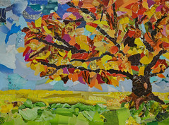 Autumn Tree (BKHagar *Kim*) Tags: bkhagar art artwork tornpaper collage tree autumn fall