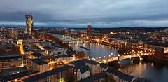 Frankfurt, the other side (fatboyke (Luc)) Tags: europeancentralbank frankfurt skyline citscape weihnachtsmarkt kaiserdom st bartholomäus domturm glockenstuhl wonderful panoramic view 328 steps cathedral river eisernersteg sundown bluehour