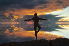 Tree Pose at Sunset (Nick Landells) Tags: surf sea waves seascape sunset clouds cloud treepose yoga reflection reflections meditation meditating lakedistrict lakelandphotowalks guided photo photography fell hill walk walks walking peace bliss oneness