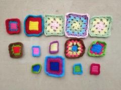 "My progress on the ""fifteen"" crochet remnants shortly before noon (crochetbug13) Tags: crochet crocheted crocheting crochetremnants crochetsquares grannysquares crochetblanket crochetafghan"
