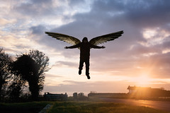 Owen-Flying-3 (nikkijwells) Tags: digital art surreal photo manipulation floating flying angel levitation levitating sunset south downs burleigh head east sussex