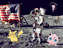 apollo-17-jump-salute-8_Pikachu_Mew_Pummeluff_Houndoo_Real (AlphaHundemon2001) Tags: nasa pokémon discovery eileen collins soichi noguchi return to flight mission 2006 august space shuttle astronaut moon surface pikachu mew houndoom