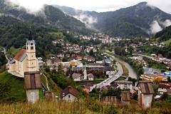 the city on the quicksilver mine (Ernst-Jan de Vries) Tags: slovenia slovenija slovenië slovenien alps mountains church town river landscape clouds 1740 canon kerk