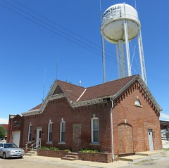 Griggsville, Illinois Town Hall and Water Tower (courthouselover) Tags: illinois il cityhalls townhalls watertowers pikecounty griggsville northamerica unitedstates us