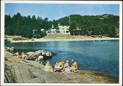 Postkort fra Agder (Avtrykket) Tags: badende barn hotell kvinne mann postkort sjø sommer svaberg grimstad austagder norway nor