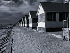 Blue Cottages (PAJ880) Tags: daysa corrages cape cod bay north truro na offseason beach winter boardedup mono bw