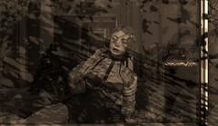 still waiting (Anja Mexicola) Tags: anjamexicola secondlife virtual art digital illustration sepia blackwhite christmas holliday fall winter snow frost girl vintage window glass house music franksinatrachristmassongs december decoration season scarletcreative panaro randomhangout tram candydoll kinkyevent uber caboodle theskinnery lelutka maitreya monochrome dog