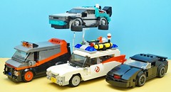 80s Cars (Hobbestimus) Tags: lego moc ateam van ghostbusters ecto1 knightrider kitt backtothefuture delorean timemachine 80s movie tv toys