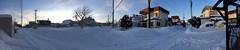 Lots of Snow in the Neighborhood (sjrankin) Tags: 21january2019 edited kitahiroshima hokkaido japan panorama neighborhood houses sky clouds wires lines roads snow field sunset road