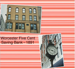 Worcester Massachusetts  - Worcester Five Cents Saving Bank  Building - Street Clock - Vintage Photo (Onasill ~ Bill Badzo) Tags: 316 main street worcester massachusetts saving bank five cents building 1891 architecture romanesque style historic revival earle architect design rounded corner nrhp district mechanics hall headquarters chess king office onasill downtown county clock