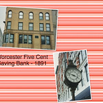 Worcester Massachusetts  - Worcester Five Cents Saving Bank  Building - Street Clock - Vintage Photo thumbnail
