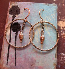 hand forged recycled antiqued sterling silver hoops w silver beads 1 (msficklemedia) Tags: handforged artisanjewelry handcrafted earrings recycledmetal stone beads sterling silver missficklemedia