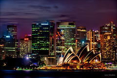 What happens after (JustAddVignette) Tags: australia cityscape clouds landscapes lights longexposure newsouthwales night nightscape ocean reflections seawater sky sydney sydneycbd water