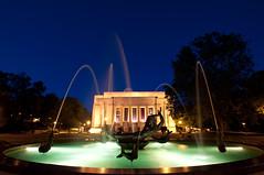 fun at the fountain (jadshoem) Tags: indiana indianauniversity auditorium bloomington blue fountain lights night water