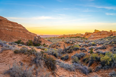 Moab Sunset (yarnim) Tags: sunset colors sky clouds landscape rocks archesnationalpark arches canyon bushes desert sony 24105 sel24105g ilce7m3 a7iii a7m3 zoom nature moab utah