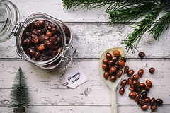 354/365: The preparations are underway... (judi may) Tags: 365the2018edition 3652018 day354365 20dec18 christmas festive cranberrysauce red christmastree miniature berries jar glass flatlay stilllife tabletopphotography canon5d 50mm itsbeginningtolookalotlikechristmas