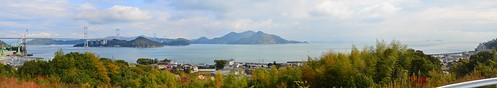 Panorama of Kurushima Kaikyo Channel from Imabari, Shikoku Island, looking east