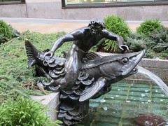 Mackerel Fountain - 30 Rockefeller Plaza NYC 9576 (Brechtbug) Tags: 30 rock rockefeller plaza center fountain with fish riders sculptures off 5th ave near 49th 50th streets entrance sea creature tentacles nyc 011019 new york city octopus arms wrapping around statue sculpture january 2019