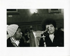 Joanne Pelham (left) and Saundra Graham (right), Police Brutality Hearings, Cambridge City Council, January 1971 (Cambridge Room at the Cambridge Public Library) Tags: cambridgemass cambridge massachusetts bw blackandwhite olivepierce pierceolive cambridgecitycouncil joannepelham saundragraham pelhamjoanne grahamsaundra