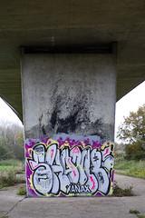 Under North Circular Slip Road, Roding Valley Park (London Less Travelled) Tags: uk unitedkingdom britain england london suburb suburbia suburban urban city southwoodford redbridge park rodingvalley flyover northcircular street graffiti streetart