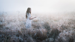 The First Frost (Elizabeth Gadd) Tags: field grass tall frosty frost frozen icy ice winter morning early sunrise girl woman white dress portrait nature