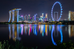 Singapore City Nightscape (BP Chua) Tags: singapore asia marinabay marinabaysingapore marinabaysands marinabaysg night city cityscape nightscape ferriswheel nikon