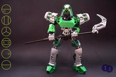 Toa Lekhui (Harding Co.) Tags: lego bionicle figure toa kanohi mask kualsi armour legs arms head weapon scythe air green silver black kolhii metru lemetru