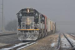 Mother Nature's a Hoar (erik_coleman) Tags: railroad train engine ic sd70 1000 a408 champaign champaignsub il fog