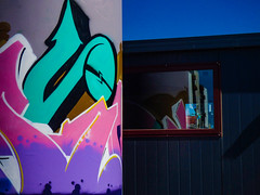 Up, Up and a Spray (Steve Taylor (Photography)) Tags: graffiti mural streetart shed hut blue black pink teal mauve white yellow newzealand nz southisland canterbury christchurch cbd city reflection sky spray aerosol can