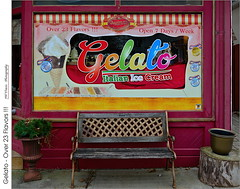 Gelato – Over 23 Flavors!!! (jwvraets) Tags: colourful storefront storewindow painted gelato bench stcatharines icecream opensource rawtherapeegimp nikon d7100 afsdxnikkor1224mm140
